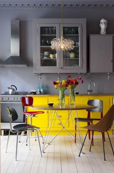 Fioletowo żółta kuchnia