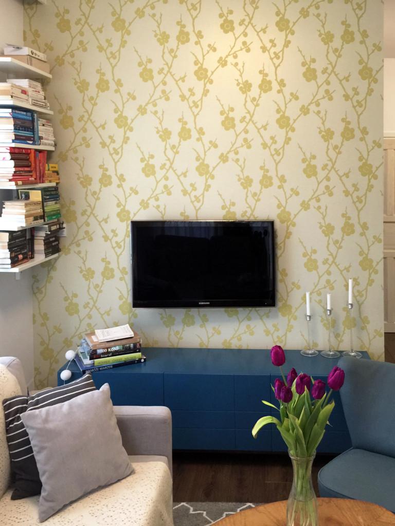 Ściana z telewizorem i tapetą