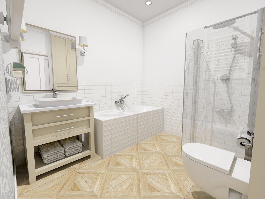 Beżowo - biała łazienka z wanną