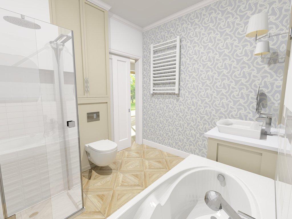 Proekt pastelowej łazienki na Wilanowie