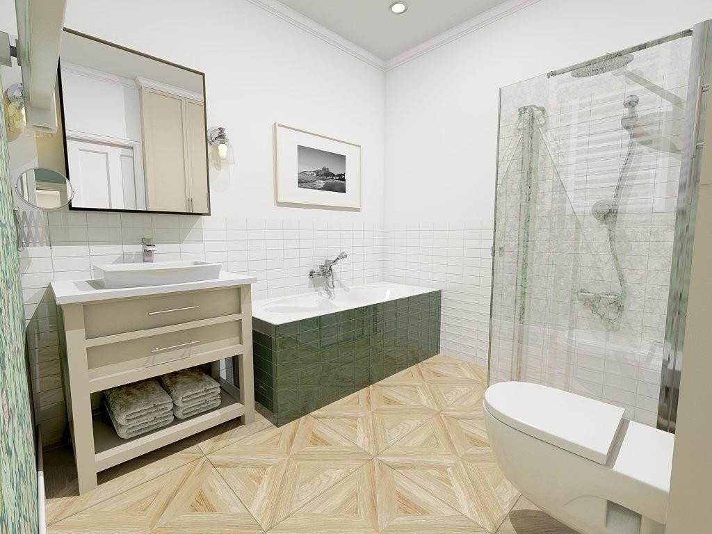Biało zielona łazienka z drewnianą podłogą