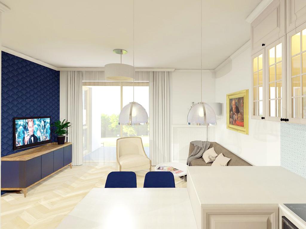 Mieszkanie na wilanowie - salon z aneksem