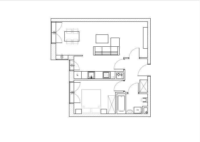 Rzut mieszkania przed wprowadzeniem zmian