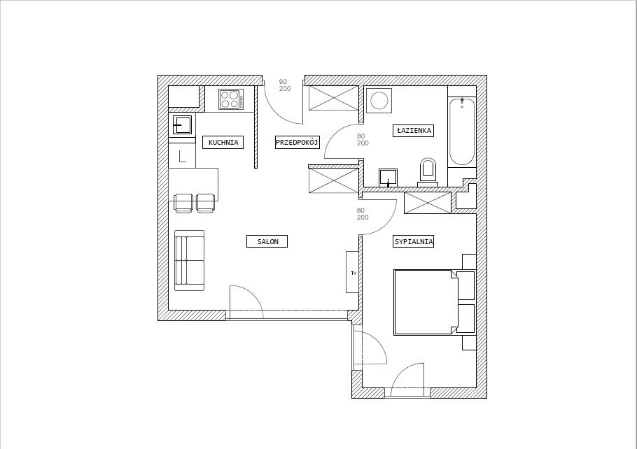 rzut mieszkania przed remontem