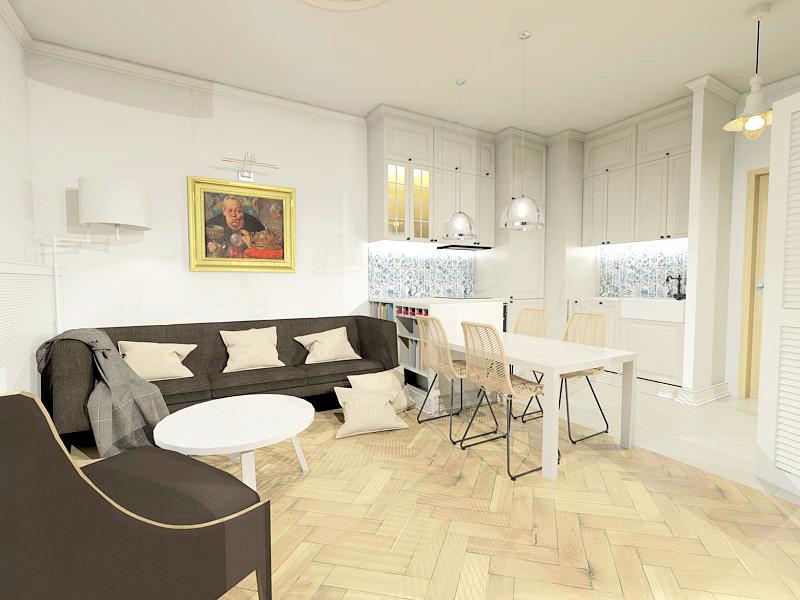 Projekt warszawskiego mieszkania - salon