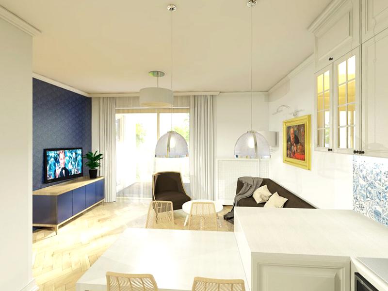 Projekt mieszkania na Wilanowie - salon
