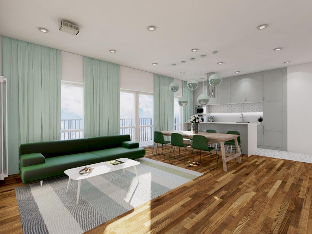 Aranżacja apartamentu w kolorach zieleni