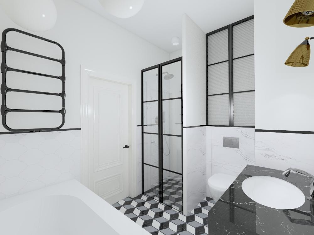 Projekt łazienki art deco