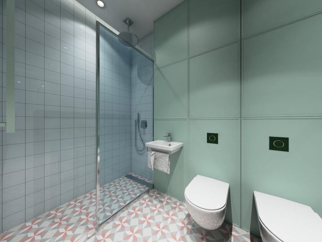 Miętowa łazienka