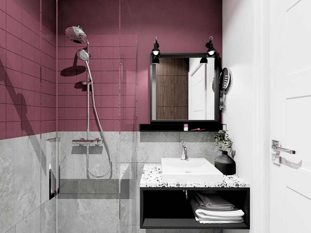 Projekt łazienki z prysznicem w kolorze bordo i szarości. Pozostałe elementy czarne