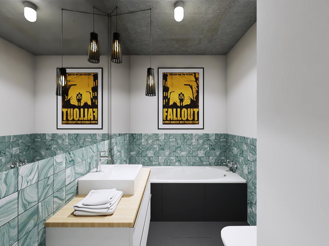 Projekt łazienki z wanną obudowaną gresem. Sufit z betonu, biała szafka umywalkowa i nietypowy kinkiet.