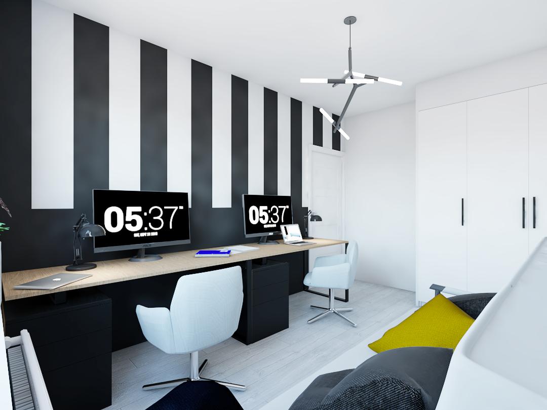 Projekt gabinetu z dwoma biurkami i kanapą. Głównym elementem przeyciągającym wzrok jest ściana w czarno-białe pasy.