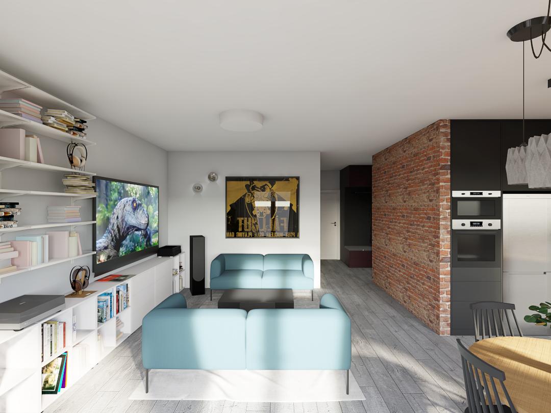 Salon z kanapami, ceglaną ścianą i drewnianą podłogą w kolorze szarości.