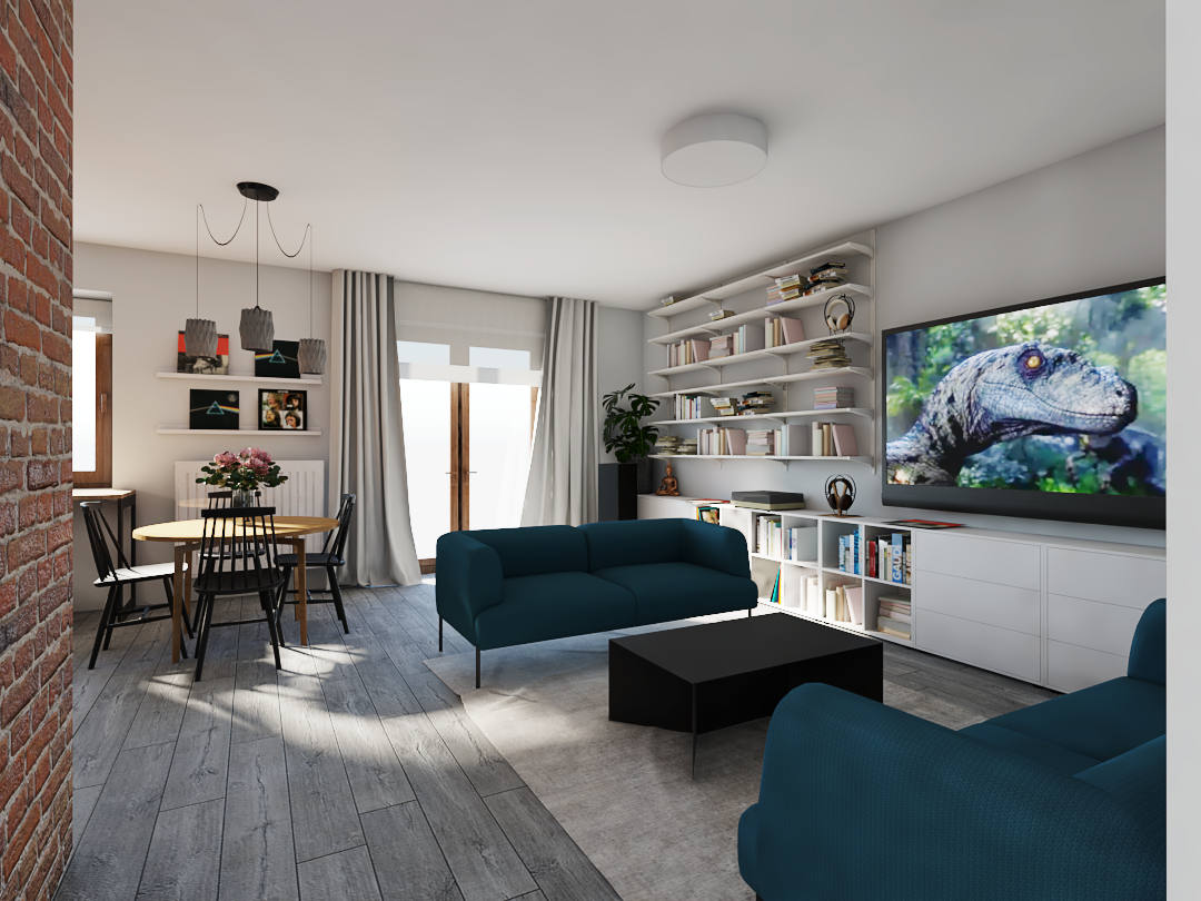 Projekt salonu z drewnianą podłogą i dwoma kanapami w kolorze morskim