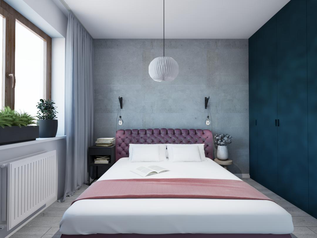 Projekt sypialni. Ściana z betonu, łóżko w tapicerce, szafa w kolorze morskim.
