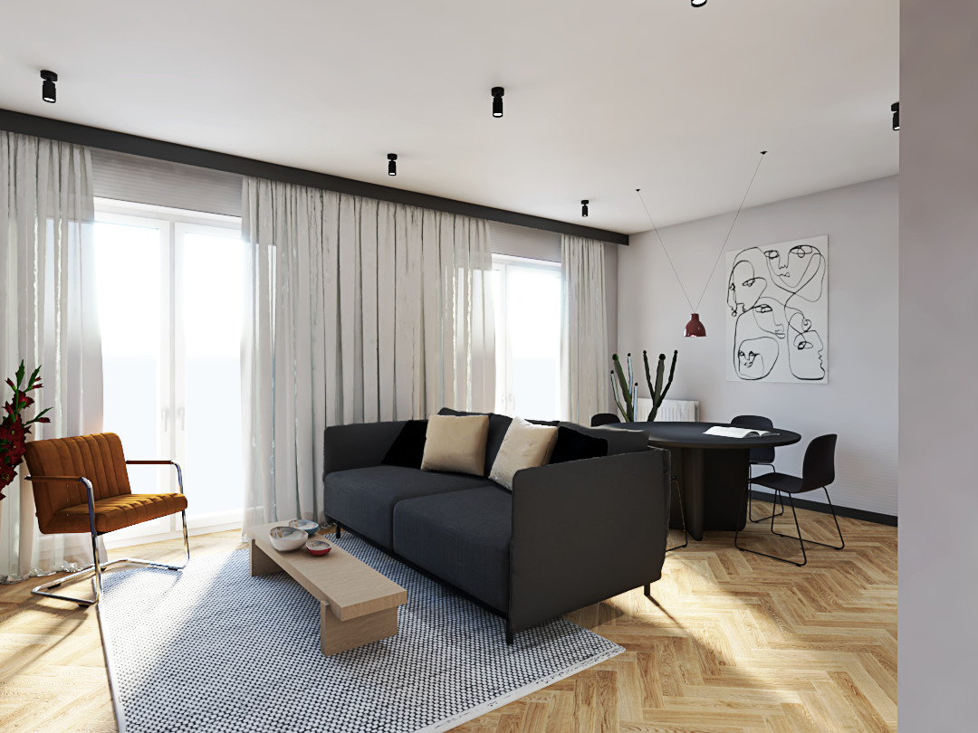 Projekt salonu z kanapą