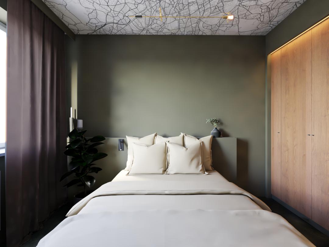 sypialnia z tapetą na suficie