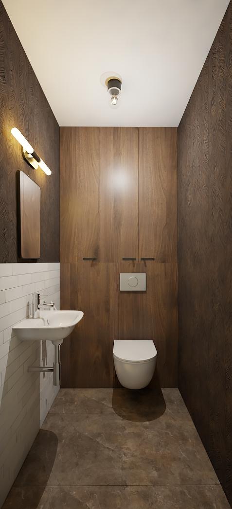 toaleta z drewnem orzecha